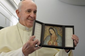 Pope Francis with Our Lady of Guadalupe