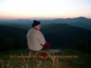 Fr. Chet enjoying sunrise in the Shenandoah Mountains
